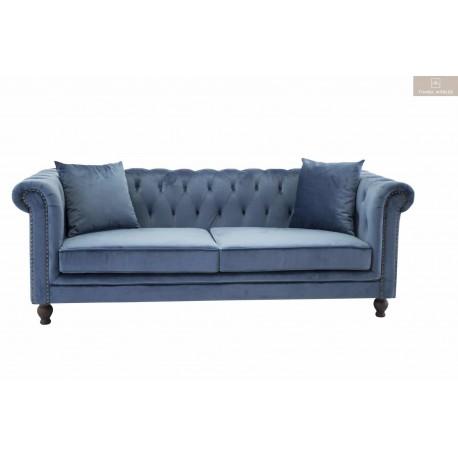 Velvet soffa blå